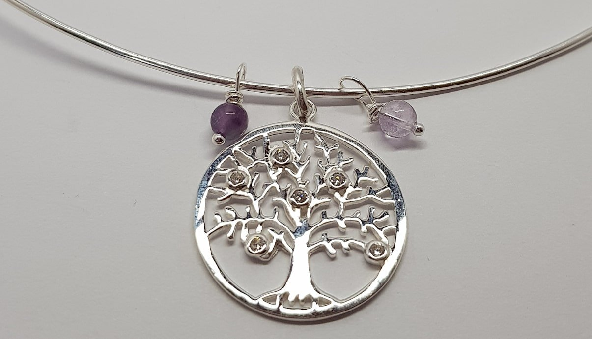 Sterling Silver, Flourite, Cubic Zirconia Tree Pendant