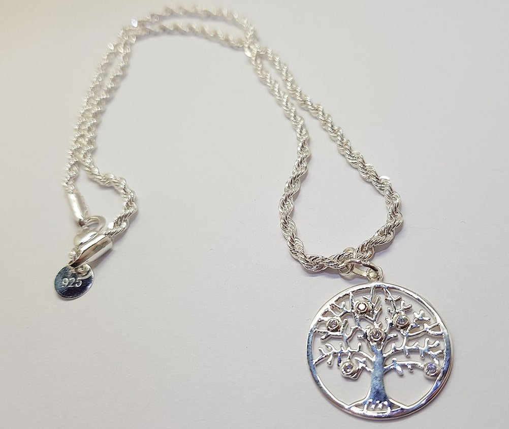 Sterling Silver Rope Chain and Cubic Zirconia Tree Pendant