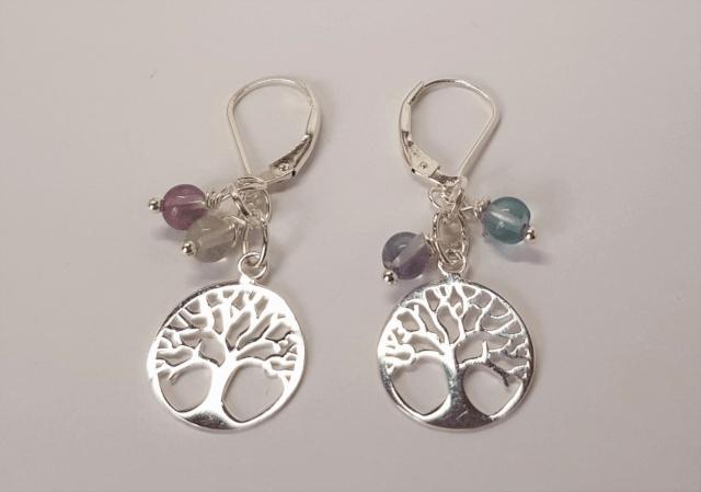 Silver Tree Flourite Gemstone Earrings