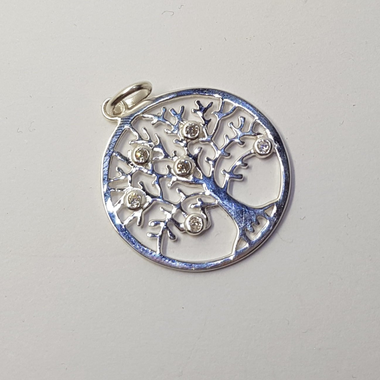 Sterling Silver Cubic Zirconia Tree Pendant